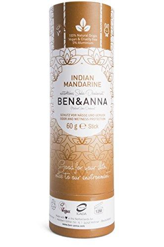 Ben&Anna Natural Soda Deodorante - 100% Alluminio Free Deodorante Cruelty Free Vegan NATRUE Certificato con Burro di Karitè biologico e Bicarbonato di Soda Made in Germany - Mandarino Indiano - 60g