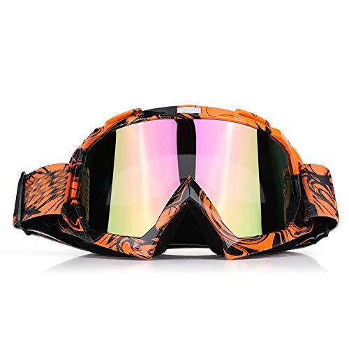 EVGATSAUTO Occhiali da moto, Motocross Motocross Off Road Dirt Bike Occhiali da corsa Occhiali Protezione degli occhi(Cornice arancione + lente colorata)