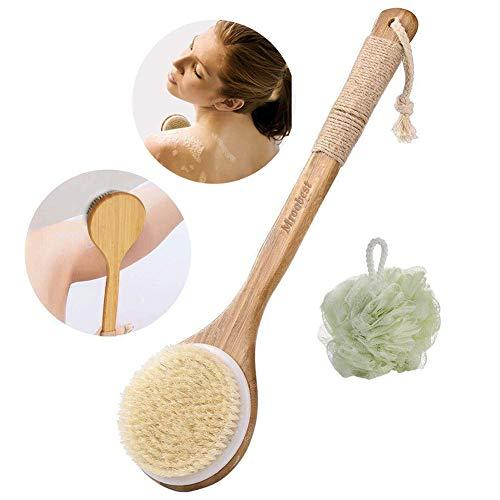 Spazzola per il corpo, spazzola da bagno, spazzola e sfera da doccia 2 in 1, setole naturali, migliora la circolazione sanguigna, riduce la cellulite, cura della pelle delle donne e degli uomini
