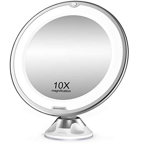 BEAUTURAL Specchio per Trucco Makeup con Ingrandimento 10 X e Luce LED, Specchio Cosmetico Giunto Sferico Orientabile e Ventosa, Diametro 8 Pollici (20 cm), a Batterie