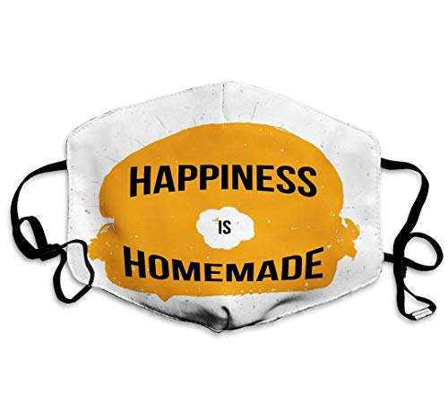 Happiness Homemade Typography Poster Wall Mouth Ma-Schera con cinghie regolabili