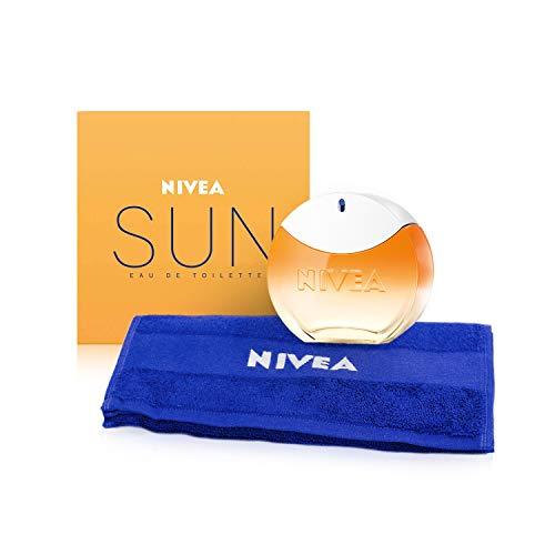 NIVEA SUN EdT Eau de Toilette (1 x 30 ml) con il profumo originale della crema solare NIVEA SUN, profumo da donna estivo dal flacone iconico, incluso 1 asciugamano NIVEA