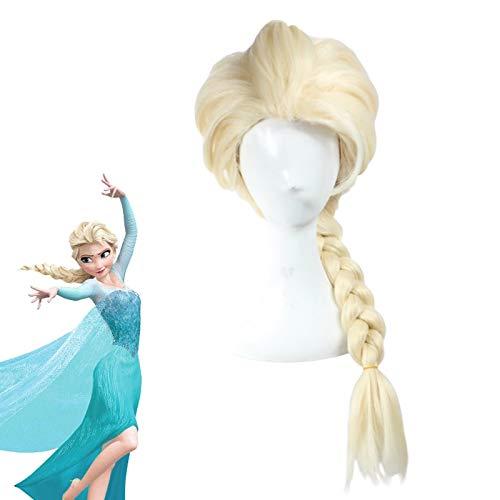 Principessa Frozen Snow Queen Elsa Weaving Braid Parrucca Cosplay bionda leggera Parrucche in costume anime + Cappellino per parruccaZL004