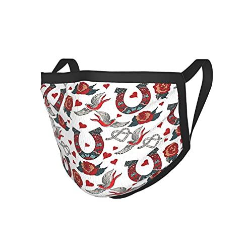 Ferro di cavallo collezione Decor ferro di cavallo con rosa rondine cuori corda floreale ornamentale tatuaggio stile nero bordo maschera maschera