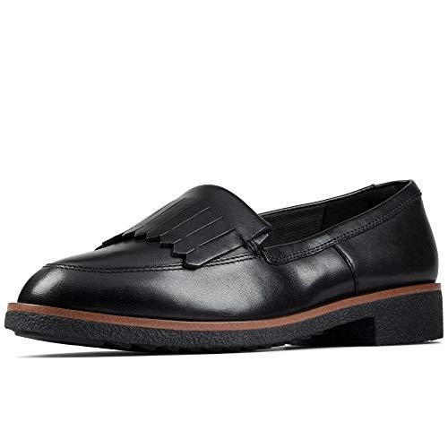 Clarks Griffin Kilt, Mocassini Donna, Nero (Black Leather Black Leather), 39.5 EU