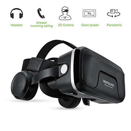 HAMSWAN Occhiali VR Compatibile con Tutti Gli Smartphone da 4,7 a 6,0 Pollici-Regalo Perfetto di Natale e di Compleanno (Nero & Argento)