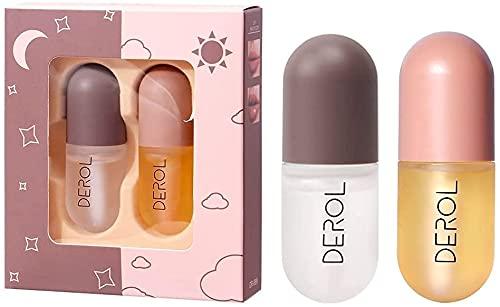 2 pezzi Natural Lip Plumper Gloss, Lips Enhancer - Set di lucidalabbra riparatore idratante giorno e notte, lucidalabbra trasparente, rende le tue labbra più piene