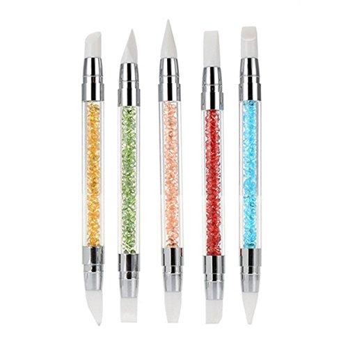 Frcolor 5pcs Silicone Nail Art Pennelli Gel scultura penna matita strumento Set con manico acrilico strass