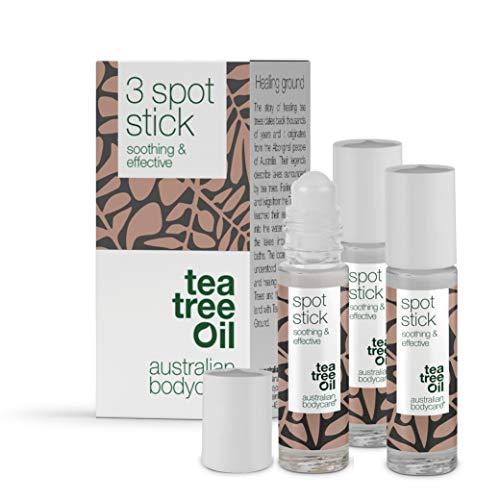 Australian Bodycare Tea Tree Oil Spot Stick - Trattamento roll-on per macchie, brufoli, pelle grassa e incline all'acne, contiene olio di Melaleuca australiano di qualità farmaceutica, 9ml (3 pezzi)
