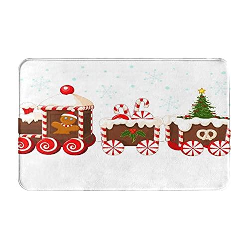 NANITHG Tappetini da Bagno per Bagno,Treno di Natale A Base di Crema di Pan di Zenzero E Caramelle,Tappetinida Bagno Antiscivolo con Assorbente d'Acqua,Tappetino per Pediluvio Morbido