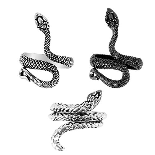Huayue 3 Pezzi Anello Serpente, Anello Serpente Regolabile per Donne e Uomini Anello Moda e Vintage con Stile Gotico Punk Rock- Argento e Nero