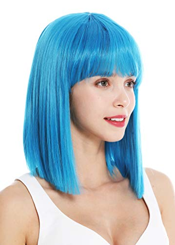WIG ME UP - VK-10-T4440 Parrucca donna Corta Altezza spalle Bob lungo Liscia Cleopatra Frangetta Blu Azzurro