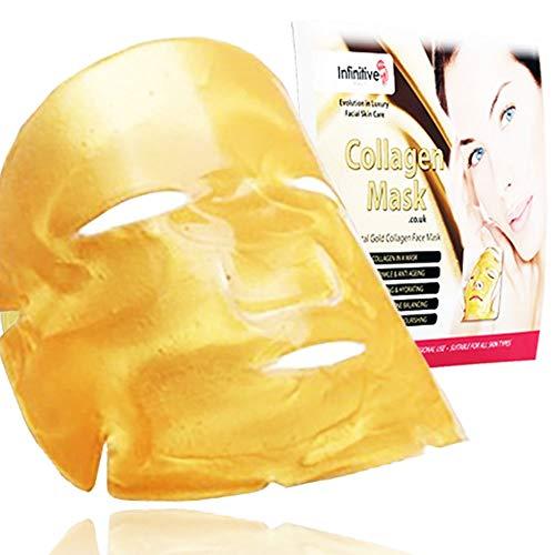 Gold Collagen Face Mask–Anti invecchiamento, rughe, idratante, anti imperfezioni, rassodante, tonificante, anti occhiaie, per una pelle levigata, natural lift, 3 pezzi