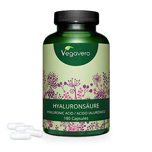 ACIDO IALURONICO Vegavero® | 400 mg: IL DOSAGGIO PIÙ ALTO | 180 capsule | 100% PURO e NATURALE: da fermentazione | Vegan