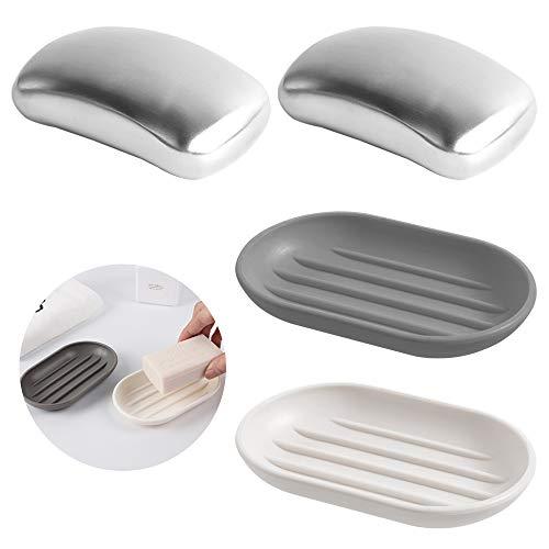 AIFUDA 2 saponette in acciaio inox con portasapone, gadget da cucina Magic Soap Remover elimina odori come cipolla aglio profumi da mani e pelle