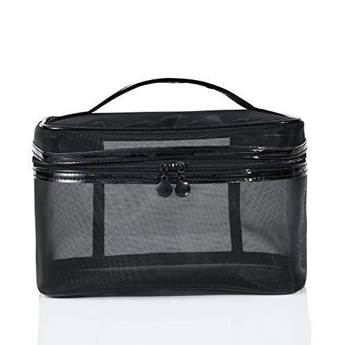 1PCS Women Men Necessary Portable Cosmetic Bag Transparent Travel Organizer Large Black Toiletry Bags Makeup Pouch B 22*13*14cm