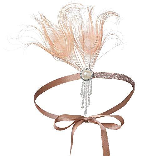 BABEYOND Fascia Anni 20 Gatsby Flapper Headband Fascia Charleston con Piuma Anni 20 Fascia Capelli Gatsby Cerchietto con Piume (Rosa Albicocca)
