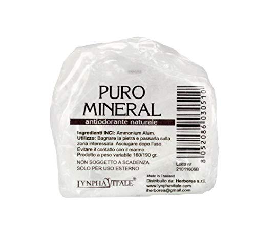 Deodorante naturale in allume di ammonio - Pietra Grezza Antiodorante 160/190 gr - Allume di potassio Puro Mineral - Deo Antiodore e Traspirante - Il Sale della Terra