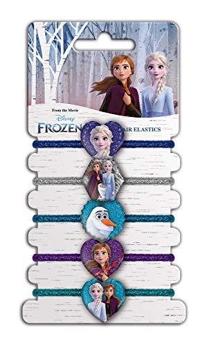 CRAZE Elastici per Capelli Accessori Frozen, Principesse Disney, 5 Tipi Gomma Decorativo Ragazza, Codini Bambini, A Forma di Cuore, Alta qualità, Multicolore, 22153