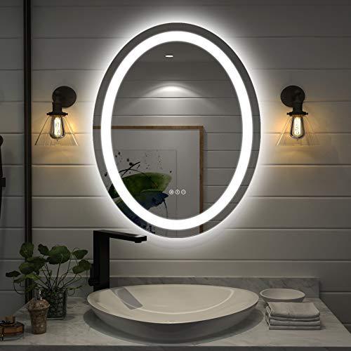 Amorho Specchio da Bagno con Controluce LED,Ovale 700x900mm Specchio da Parete,con Interruttore Touch,antiappannamento,regolabile in 3 colori, luminosità bianco caldo e bianco freddo