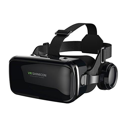 FIYAPOO Occhiali VR 3D Visore Realtà Virtuale Occhiali Headset Virtual Reality 3D Film Glasses per iPhone Android Smartphones (Occhiali VR con Cuffie)