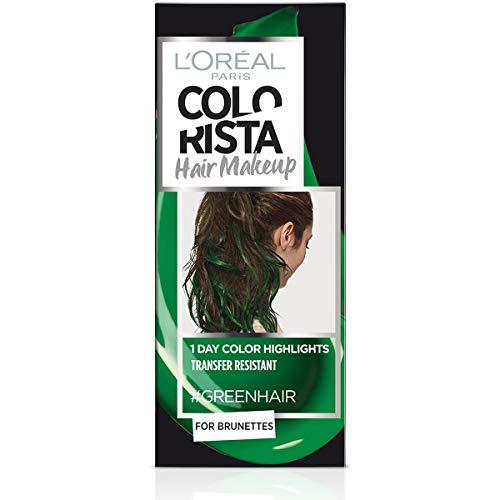 L'Oréal Paris Colorista Hair Makeup Colorazione Temporanea 1 Giorno per Ciocche e Punte, Tinta per Capelli Castani, Meches Verde Scuro, 30 ml
