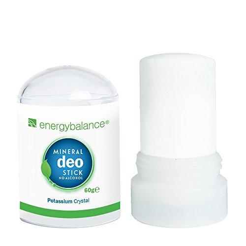 Cristallo Deo-Stick EnergyBalance 60g senza alluminio (cloruri di alluminio) - Per uomo e donna - Inodoro - Deodorante - Qualità del marchio Svizzera