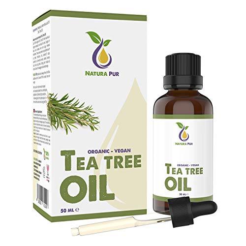 Olio Tea Tree Puro 50ml con pipetta - Olio Essenziale BIO e naturale Australiano al 100% - supporto contro Imperfezioni della Pelle, Acne e Punti Neri, Funghi delle Unghie