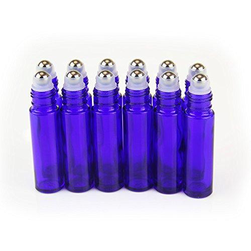 Yizhao Roll On Vuoto per Oli Essenziali,Profumi,10 ml Blu Bottiglie Vuote in Vetro, con Sfera in Acciaio Inossidabile – 12 PCS