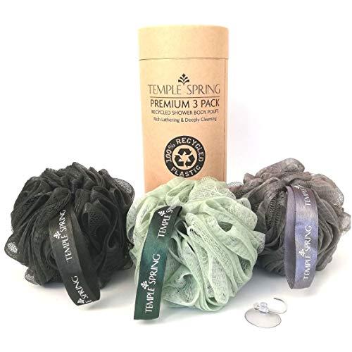 Pouf da doccia riciclato, Eco Riciclato, Spazzola per il corpo, Spugna a rete, Esfoliante Scrunchie, Multi Pack Bagno Puff, articoli da toeletta, palline di schiuma