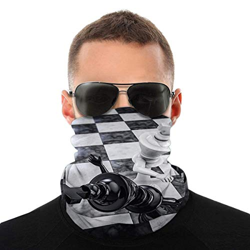 Knockout bianco e nero divertente gioco di scacchi antivento maschera protezione solare testa sciarpa protezione UV collo ghetta passamontagna bandana