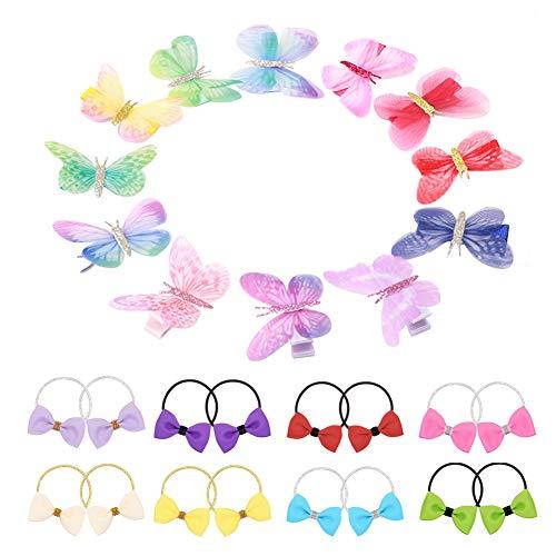 FYHappy - Fermagli per capelli a forma di farfalla, con fiocchi colorati, accessori per capelli per donne e bambini, in tessuto di qualità, comodi da indossare, senza bisogno di tirare i capelli.