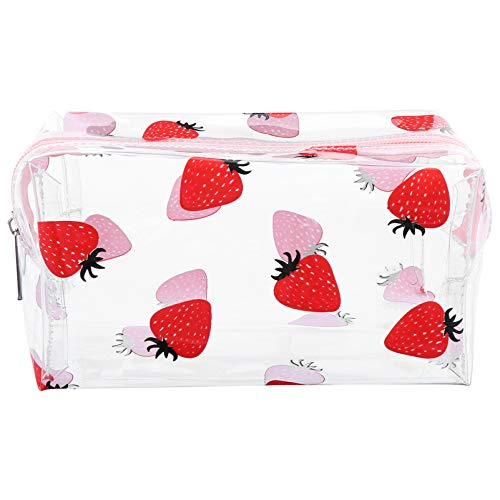 Beaupretty Clear Makeup Bag PVC Transparent Cosmetics Bag Strawberry Stationary Case Waterproof Toiletry Storage Pouch with Zipper for Travel Makeup Organizing Stationary