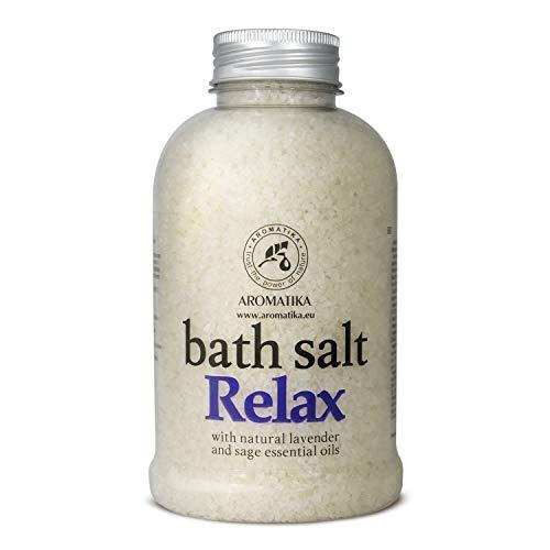 Sali da Bagno Rilassante 600g - Sale Marino con Lavanda Naturale e Olio di Salvia - per un Buon Sonno - Riduzione dello Stress - Cura del Corpo - Relax - Aromaterapia