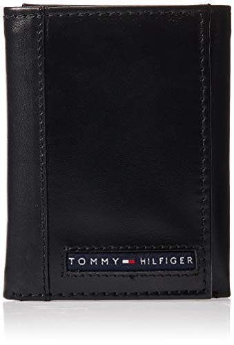 Tommy Hilfiger Men's Leather Cambridge Trifold Wallet,Black,