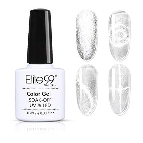 Elite99 Smalto Semipermanente per Unghie in Gel UV LED,Cristallo Luce Della Neve Cat Eye Effetto Unghie Soak Off Starter Primer in Gel UV LED Salon Manicure 10ML - 41001