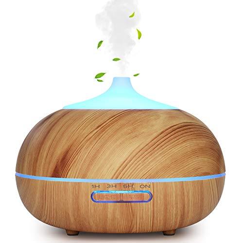 WD&CD Diffusore di Aromi 300ML Diffusore di Oli Essenziali Senz'acqua Spegnimento Automatico / 7 Luci Colorate / 3 Impostazione Timer/Silenzioso - Venatura del Legno Chiaro