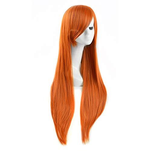 Qwqz zrzsbkl Parrucca cosplay lunga ragazza piccante Kim Possible arancione arancione