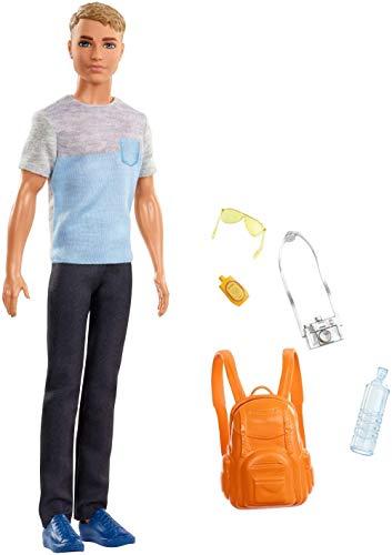 Barbie- Ken in Viaggio, Bambola con Fotocamera, Zaino e Altri Accessori, FWV15
