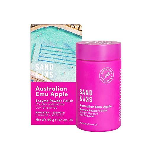 Sand & Sky - Polvere esfoliante agli enzimi della mela degli emù Australiana - peeling per il viso e detergente viso con enzimi della papaia, olio di jojoba e vitamina C antiossidante