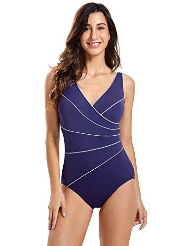 DELIMIRA Donna Costume da Bagno Scollatura a V Coppe con Imbottite Strisce Blu Navy 48