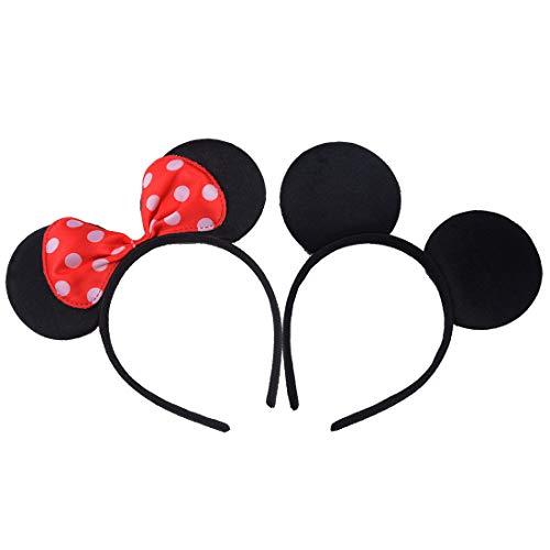 2 pezzi Nero Rosso Fasce per capelli compleanno Feste di Halloween Mamma Ragazzi Ragazze Accessori per capelli Belle orecchie da topo copricapo Decorazioni (Nero Rosso)