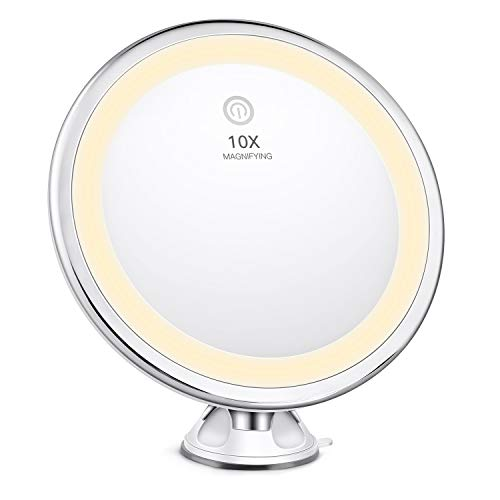 Bestope Trucco con ingrandimento 10x, con Illuminazione a 3 Colori, Specchio da Barba Illuminato da Bagno, con 360 Ventose di Chiusura Girevole, Bianco, 48