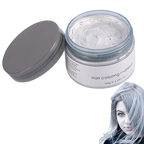 Cera Capelli Colorata, 120ML Uomo Donna Monouso per Capelli Tintura Fango Parrucchiere Crema Capelli Styling Colorazione Cera(Gray)