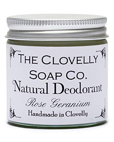 Clovelly Soap Co Balsamo Deodorante Naturale e Fatto a Mano al Geranio Rosa, Barattolo di Vetro da 60gr