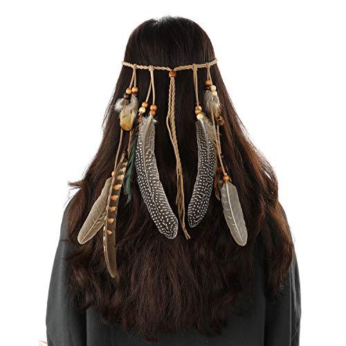 Mwoot Donne Indiana Copricapo Boemia etnico Fascia capelli Fascia Piuma di stile di hippy accessori per capelli per feste e festival carnevale