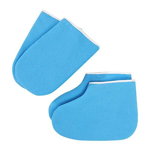 Minkissy Cera paraffina da bagno, guanti in spugna, per terapia del calore, trattamento a mano, guanti per pediluvi, copertura per donne blu scuro