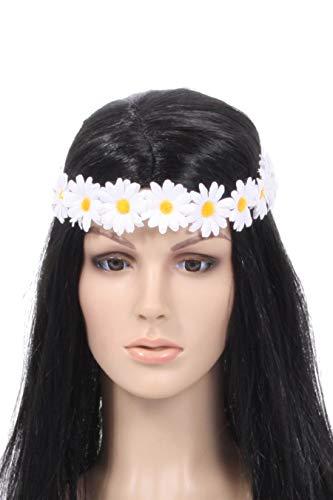 Marco Porta Fascia per capelli stile hippie anni '70, accessorio per costume da damigella d'onore, accessorio per capelli (bianco)