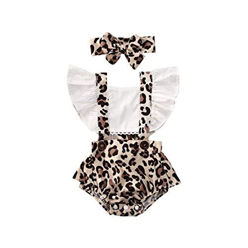 WangsCanis Pagliaccetto Neonata 0-24 Mesi Tutina con Maniche Corte a Volant Scollo Quadrato Stampa Floreale 2 Pezzi con Fascia per Capelli (Leopardo, 12-18 Mesi)