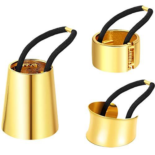 3 Pezzi Metallo Cerchio Polsino Capelli Elastico Fascia per Capelli Fermacoda Porta Coda di Capelli Corda Accessorio per Donne Ragazze, 3 Stili (Oro)